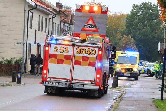 Olycka, skylt på brandbil