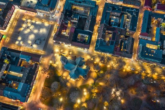 Skövde stad, sett från ovan