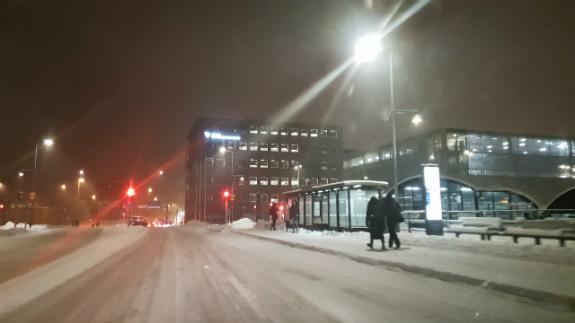 Vinterbild och snö i Skövde
