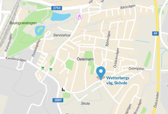 Wetterbergs väg på Östermalm i Skövde.